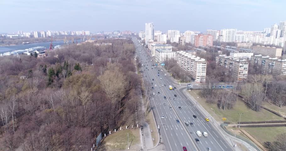 Aerial view Leningradskoye Highway and Khimki Reservoir, Moscow