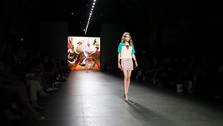 AMSTERDAM, THE NETHERLANDS - JULY 13: Models in Amsterdam Fashion Week present high fashion catwalk by Spijkers en Spijkers in Amsterdam, The Netherlands, July 13, 2012