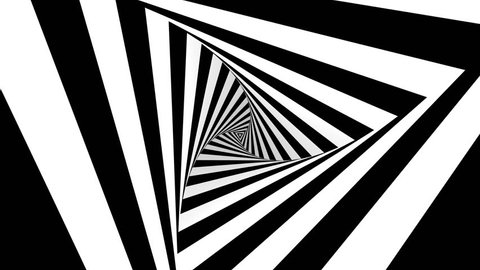 Animated hypnotic tunnel with white and black stripes. Seamless loop. 4K, UHD, Ultra HD resolution.
