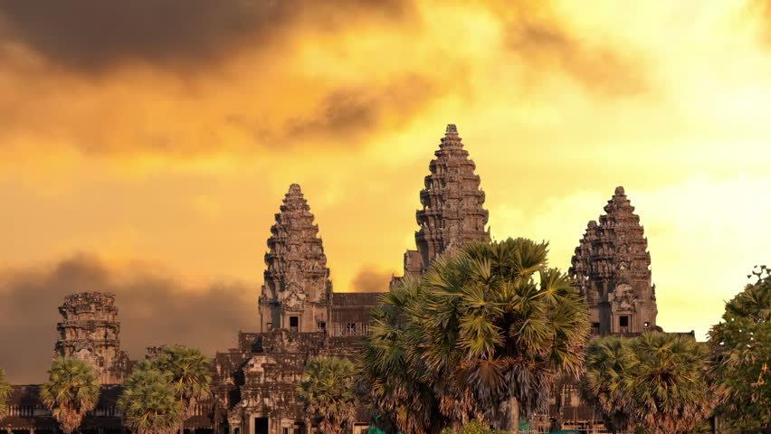 Angkor Wat Temple Silhouette With Stock Footage Video 100 Royalty Free 2590301 Shutterstock