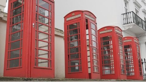 London. English red telephone booths.