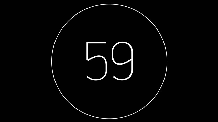 4K Countdown one minute animation from 60 to 0 seconds. Modern flat design with animation in black background