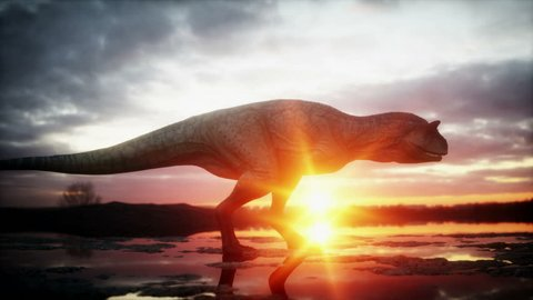 Dinosaur. Prehistoric period, rocky landscape. Wonderfull sunrise. Realistic 4K animation.