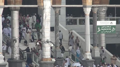 MECCA SAUDI ARABIA september 2016, Muslim pilgrims from all around the World revolving around the Kaaba in Mecca Saudi Arabia. Muslim people praying together at holy place.