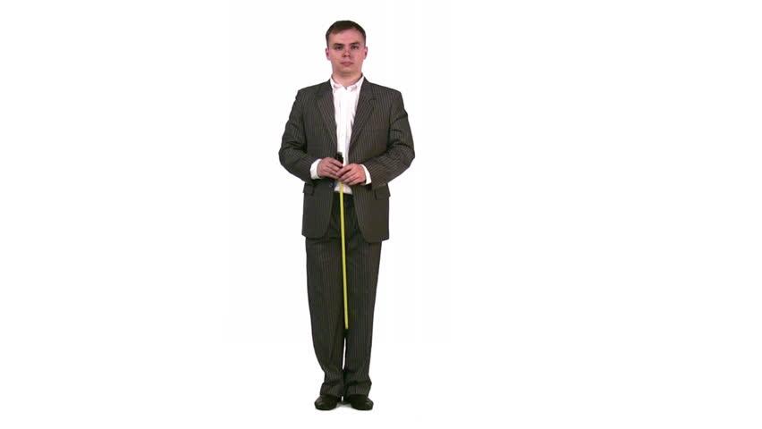 businessman measure length