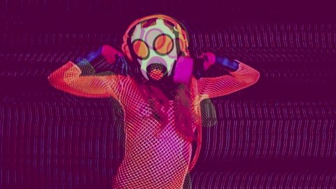uv fluorescent sexy female gogo dances wearing a gasmask. this version has been passed through an analogue video effects unit to add glitch and distortion.
