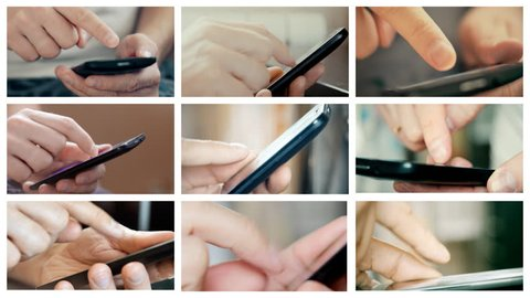 Collage of footages with male hands using smartphone. 4K UltraHD video