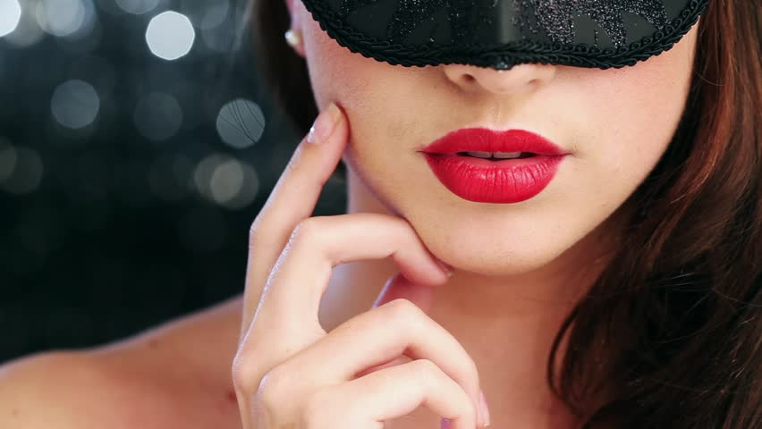 Sexy woman wearing masquerade mask at party 1920x1080