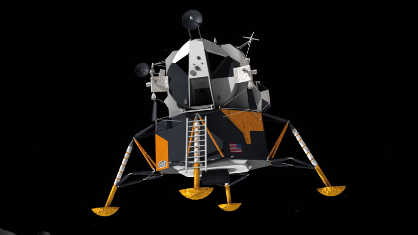 Apollo 11 lunar lander landing on the moon. This was the vehicle used for the first ever manned landing on another celestial body.