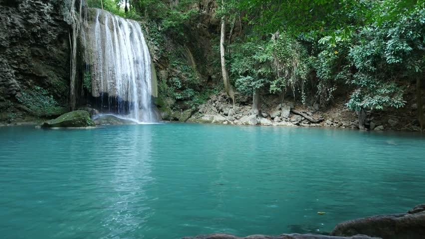 Deep forest Erawan Waterfall at Erawan National Park,  Kanchanaburi Province, Thailand