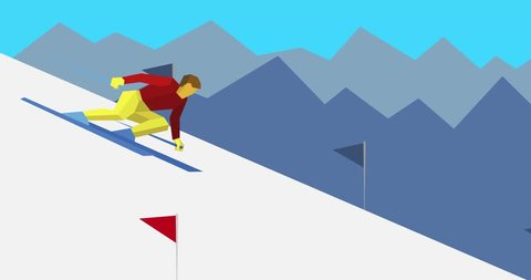 Cartoon skier slope downhill. Animation with athlete skiing and mountains behind. Winter sport - ski slalom. Seamless loop.