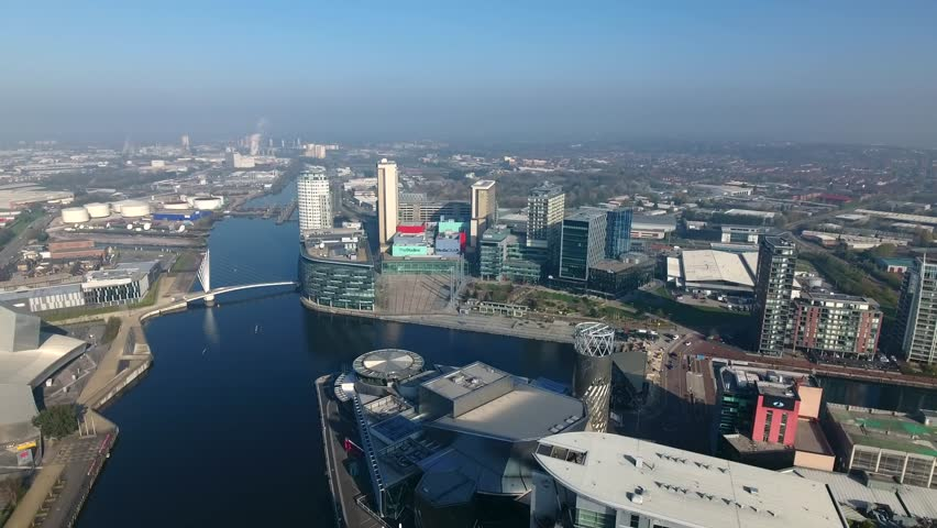 Aerial view of Salford Quays and Media City in Manchester, UK.