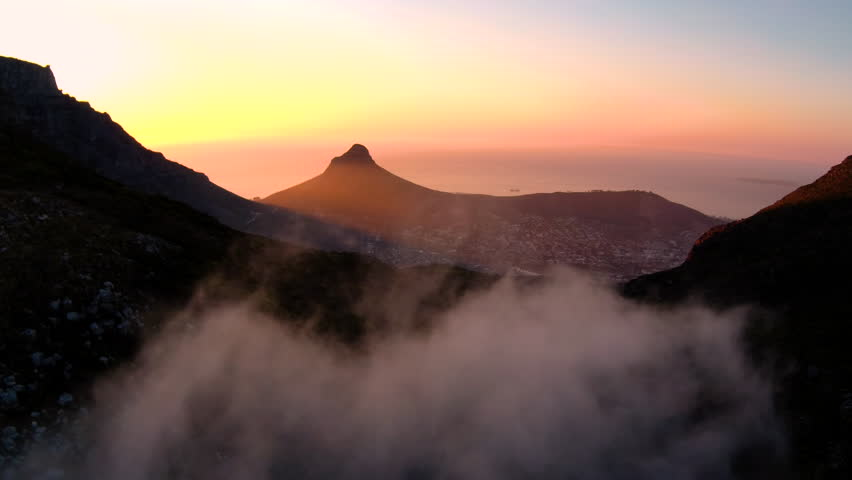 Drone reveal trough the trees on Signal hill into Cape Town city during sunrise. | Shutterstock HD Video #26081621