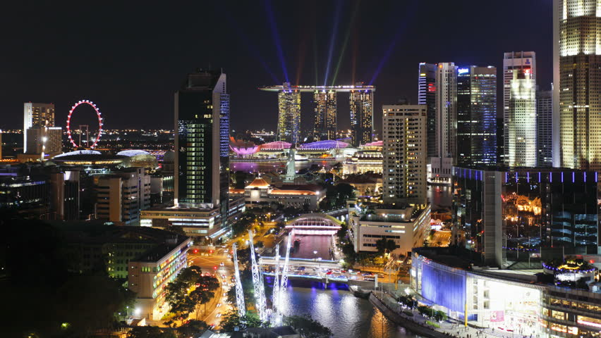 Elevated view over the Entertainment district of Clarke Quay near the Singapore river