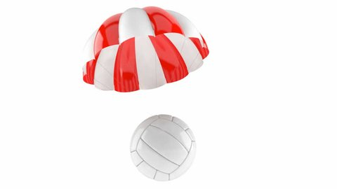 Volleyball with parachute isolated on white background