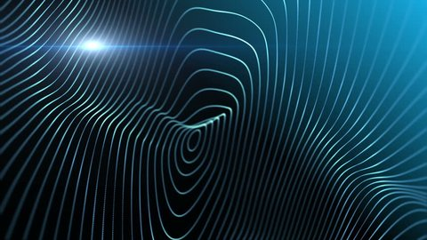 Abstract background with animation of waving lines in beautiful organic slow motion. Macro look. Blue abstract science, technology and engineering background. 3D rendering.