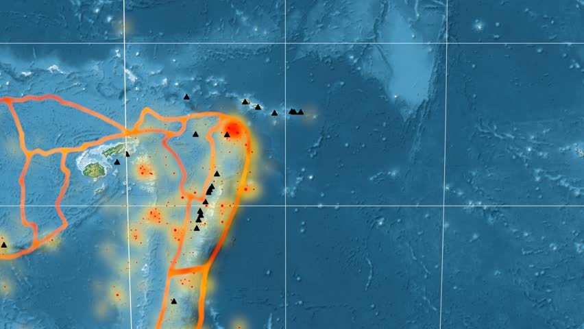 Balmoral Reef tectonic plate featured & animated against the global relief map in the Kavrayskiy VII projection. Tectonic plates borders (Peter Bird's division), earthquakes, volcanoes