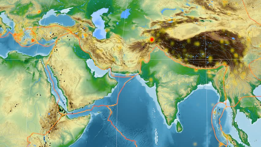 Arabia tectonic plate featured & animated against the global physical map in the Mollweide projection. Tectonic plates borders (Peter Bird's division), earthquakes, volcanoes | Shutterstock HD Video #26134847
