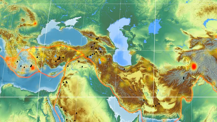 Anatolia tectonic plate featured & animated against the global relief map in the Kavrayskiy VII projection. Tectonic plates borders (Peter Bird's division), earthquakes, volcanoes