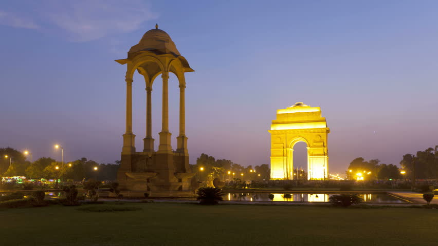 OLD DELHI, INDIA - CIRCA MAY 2011: Time lapse of the 42 metre high India Gate at the eastern end of Rajpath circa May 2011 in Old Delhi, India.