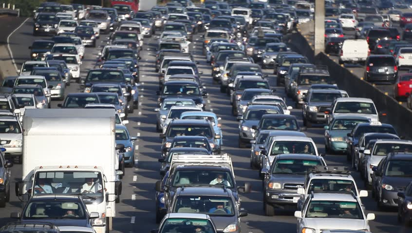 LOS ANGELES, CALIFORNIA, USA - AUGUST 15, 2015: Traffic jam on California freeway in Los Angeles during the the 100 degrees Fahrenheit  heat wave visual distortion