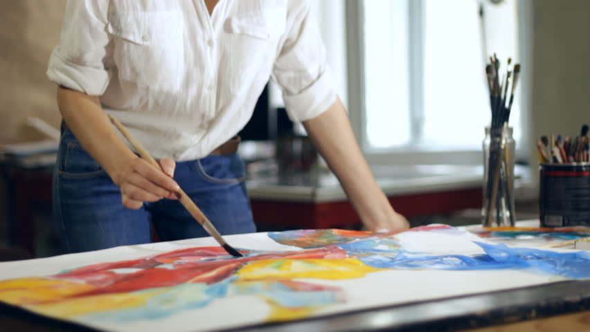Woman Artist Painting Watercolor Paints Stock Footage Video