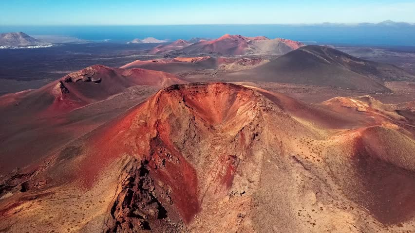 Aerial view of Volcanic valley near Timanfaya National Park, Lanzarote, Canary islands, Spain