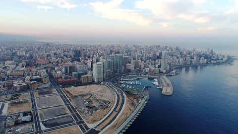 4K forward Aerial drone shot of Beirut skyline at sunrise, Aerial footage of Beirut city