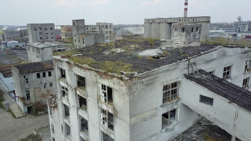 Area of destroyed factory. Ruins of the destroyed building or premises | Shutterstock HD Video #26187581