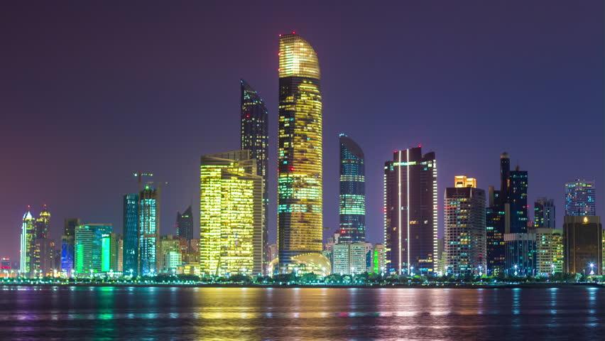 abu dhabi famous night light corniche bay beach downtown panorama 4k time lapse uae