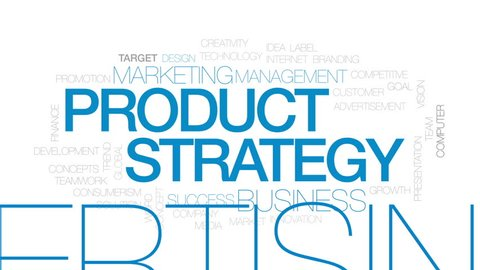 Product strategy animated word cloud, text design animation. Kinetic typography.