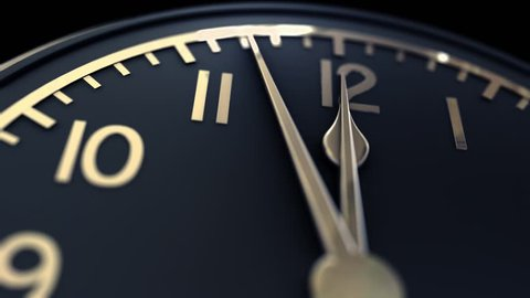 Animated clock counting down 12 hours. With alpha, matte channel. 3d rendered.