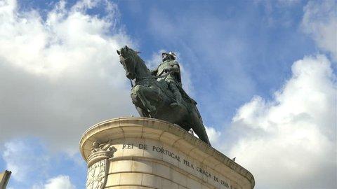 Equestrian statue of King John I in the Praça da Figueira – Lisbon, Portugal - time lapse in 4K