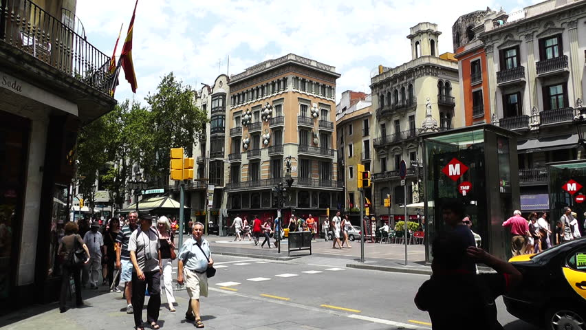 BARCELONA CATALONIA SPAIN - JUNE 10: Downtown La Rambla Spain Catalonia
