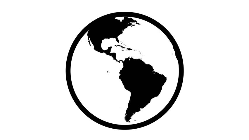 Globe Icon 360. Earth rotating 360 degrees. Highly detailed world texture. Seamless Loop. Black and white.