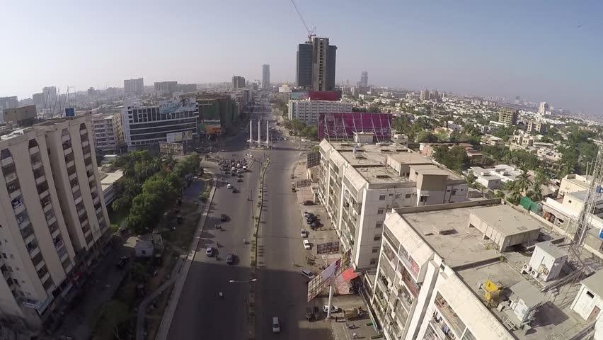 Karachi aerial shot of teen talwar (three swords) Clifton , Drone shot. 6th May 2016