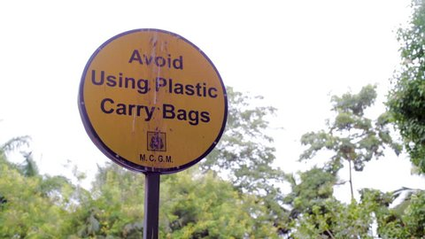 Avoid Using Plastic Carry Bags sign, environment protection, Mumbai, India