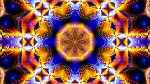 Orange kaleidoscope sequence patterns.Abstract multicolored motion graphics background. Or for yoga, clubs, shows, mandala, fractal animation. Seamless loop.