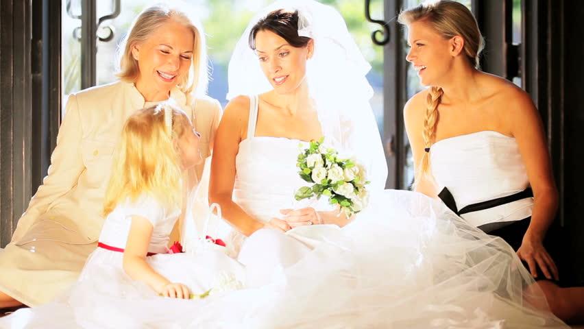 Female Family Members Portrait Pretty Bride And Cute Flower Girl Home Wedding