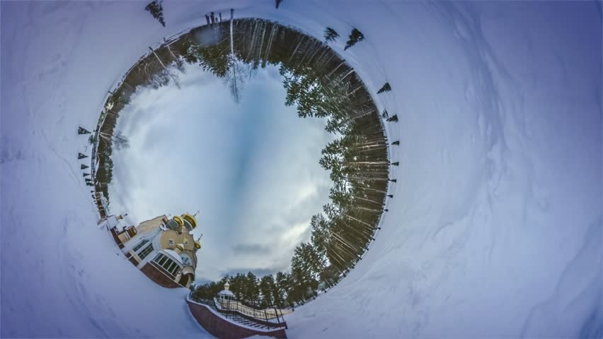 Spherical Video of Orthodox Holy Elijah Church, Panorama Video 360 Degree Rabbit Hole Planet. Time Lapse. Slavutich in Winter. Coniferous Trees, Firs and Pines, Humid Forest on the Background of the