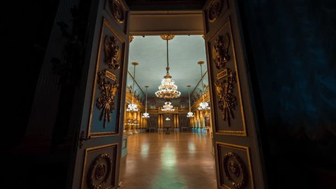 SAINT PETERSBURG, RUSSIA - FEB, 2017: Hermitage Emblem or Armorial Hall which occupies area of 600 square meters was designed by Stasov. Hall was used for official receptions
