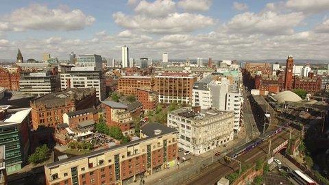 Manchester UK Aerial View Crane Up Shot