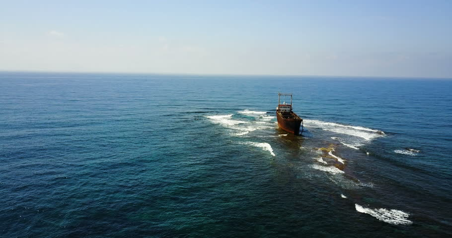 Beautiful seascape with old ship after the accident. | Shutterstock HD Video #26359211