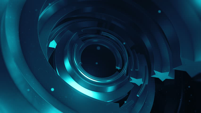 Abstract loopable 3d rendered sequence. Award winning background. Star shapes extruded to arc trajectory and rotate with randomly speed. Concentric metal elements  | Shutterstock HD Video #26382821