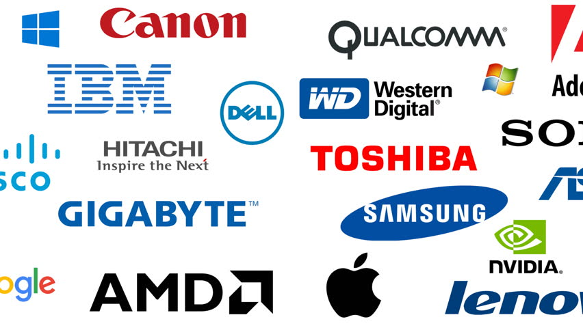 Editorial animation: major computer companies in 2017. Editorial use only. 3D rendering, left to right variant, 4k UHD.