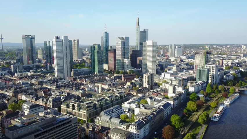 Aerial View Frankfurt Bridge Germany  | Shutterstock HD Video #26384021
