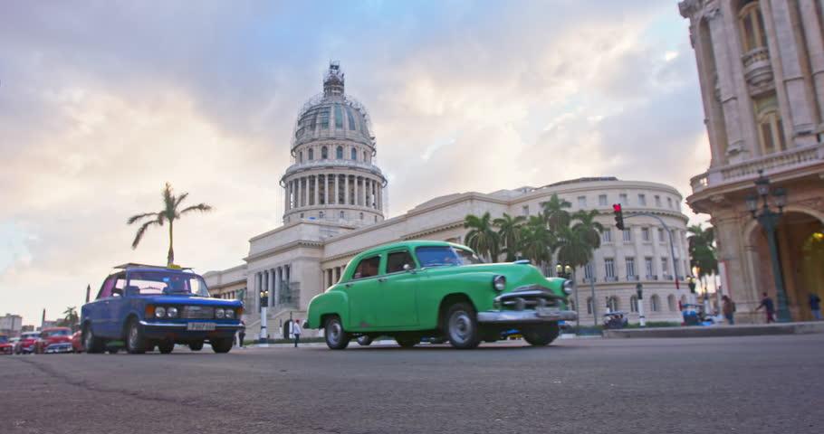 traffic and El Capitolio building In Havana, Cuba | Shutterstock Video #26388320
