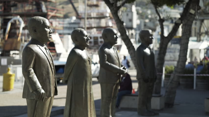 Nobel Prize winners sculptures in Nobel Square, Cape Town