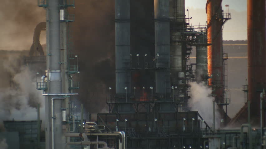 Tilt up from a fire at an oil refinery in Richmond, California.
