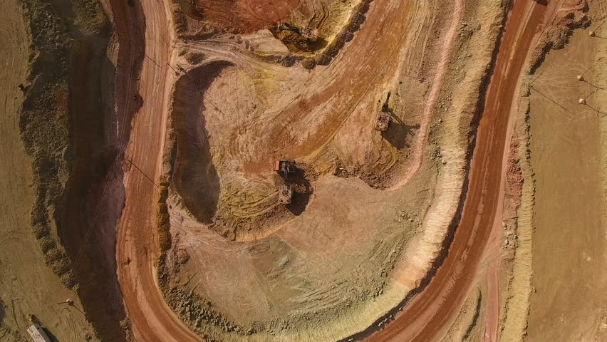 Panorama of the quarry. Barkhan sands. Development of minerals. View from above.